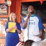 Bengals player Vincent Rey and Literacy Network president Michelle Otten Guenther at the 2015 event