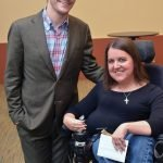 Keynote speaker RJ Mitte with volunteer Melissa Milinovich