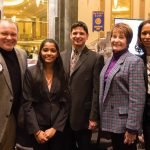 Rotarian Russell Smith, Walnut Hills High School adviser Kyle Scudder, winner Rithu Rajagopala, Mary Ronan and Laura Mitchell
