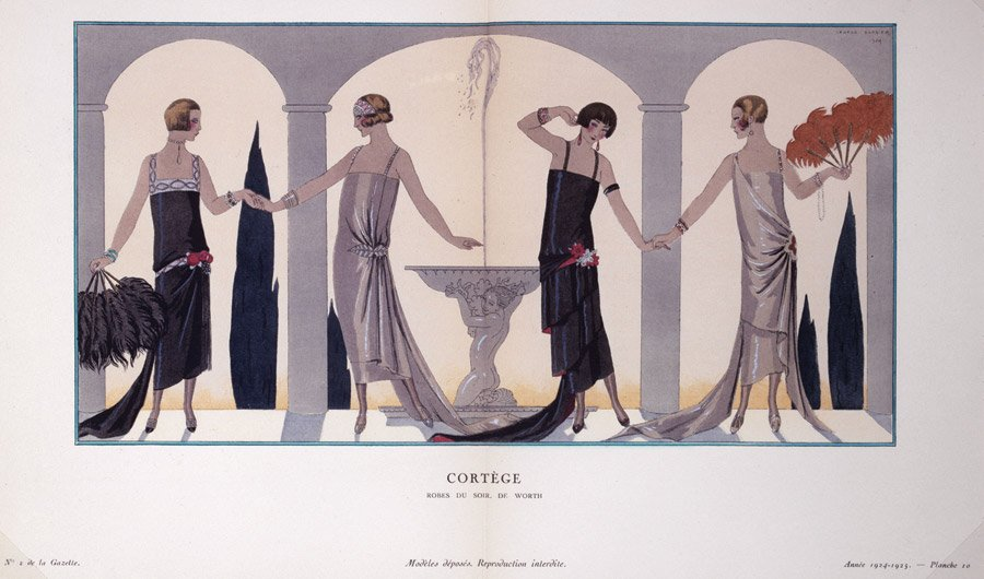 "George Barbier, ""Procession"": Worth Evening Gowns, 1924. From Gazette du Bon Ton, 1924-1925, no. 2, Plate 10. Color lithograph with silver highlights on paper. © Petit Palais / Roger-Viollet"