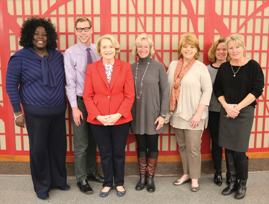 Event committee: Deatra Greene-Ndiaye, assistant director of HEMI; Keith Shomaker (correct), HEMI program specialist; Anne Zaring, event chair;  Stephanie Wyler, event volunteer; Rayma Waters, director of HEMI; Marihelen Millar, assistant dean, CECH; Sabine Flessa, assistant director of development, CECH