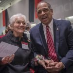 Marian Spencer and UC president Neville Pinto