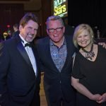 """Emcees Chris O'Brien and Janeen Coyle (""""Married with Microphones,"""" 103.5 WGRR-FM) and celebrity judge John Morris Russell"""