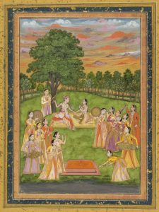 A Royal Couple and Women of the Court Play Holi, circa 1760