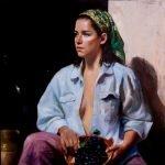 Marc Chatov 'Grape Picker' oil 30x30