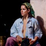 Marc Chatov 'Grape Picker' oil 30x30