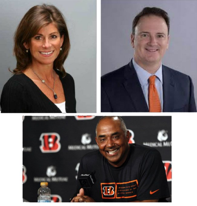 Cincinnati Reds' VP Karen Forgus, FC Cincinnati's Jeff Berding and Bengals' Marvin Lewis
