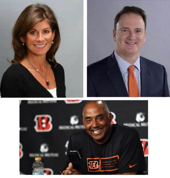 Cincinnati Reds' VP Karen Forgus, FC Cincinnati's Jeff Berding and Bengals' Marvin Lewis