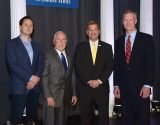 Keynote speaker Dr. Hugh Herr with Tim Beischel, project executive for R.J. Beischel Building Co.; Andy Swallow, president and CEO, Bethesda Foundation; and Matthew Lang, clinical sales manager, Intuitive Surgical Inc.