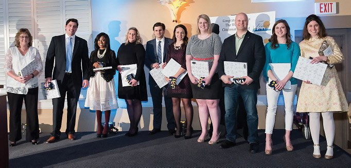 Finest Under Fifty honorees: Deb Augsback, Scott Brendamour, Tiffany Dace, Katie Hayden,  Robert Mangine, Kristen Meyers, Patricia Plavko, James Stapleton, Hannah Wallach and Clare Whitaker. Not pictured: Peter Barrett, Levi Daly, Devin Kelly, Chris Owens and Tim Trucco