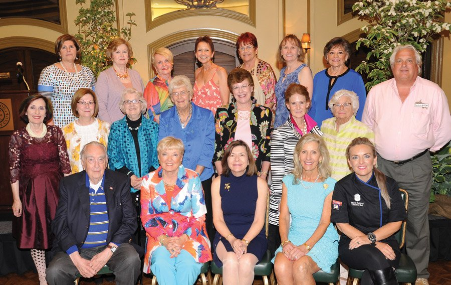 Longtime volunteers and committee chairs: (front) Jerome Eichert, Marsha Haberer, Jeane Elliott, Cynthia Muhlhauser and featured speaker Maeve Rochford (Hertel); (middle) Mary Mary Margaret Rochford, Cindy Williams, Martha Seaman, Betty Wuest, Linda Schlegel, Marianne Miller, Marie Huenefeld and Kevin O'Dell; (back) Stephanie Busam, Charee Maddux, Barbara Bushman, Judy Dunning, Ann Fox, Lori Osterhaus and Mary Lou Condit