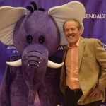 Emcee Bob Goen with Mo the Elephant