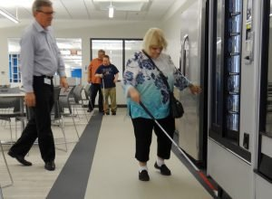 Gerry Slusher checks out the vending machines at The Hornbeck Social Enterprise Center.