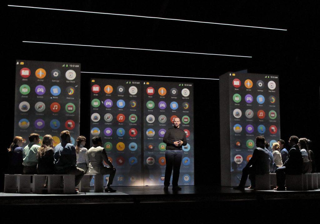Edward Parks (Steve Jobs) and the Santa Fe Opera Chorus. Photo by: Ken Howard