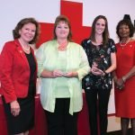 Red Cross regional CEO Trish Smitson; Sue Prewitt of honoree Petermann Bus; Lindsey Dingeldein of honoree Cincinnati Reds; and Red Cross board chair Delores Hargrove Young