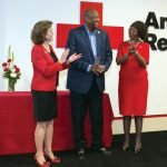 Red Cross regional CEO Trish Smitson, honoree Ralph Lee and Red Cross board chair Delores Hargrove Young