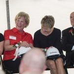 Linda Mueller and Peggy Johns, both members of the Gardner family; with Margaret Buchanan, UC Health board chair; and Thomas Cassady, UC Health board member and UC board chair