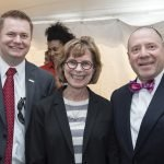 Nick Proffitt of Messer Construction, Mary Beth McGrew of the University of Cincinnati and Jay Brown of UC Health