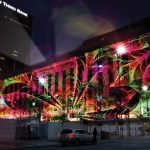 Artists imagining of projection mapping on the Federal Building (the actual art will be different).