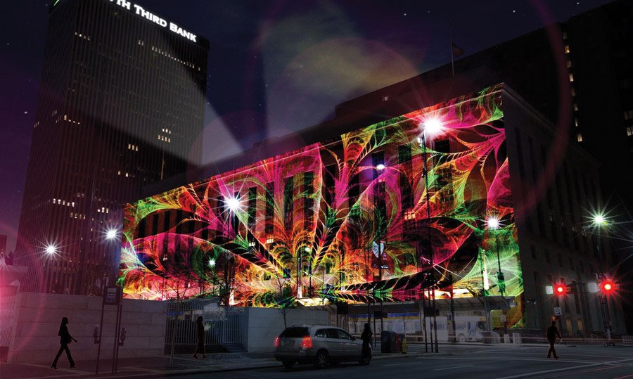 Artist Imagining Of Projection Mapping On The Federal Building Actual Art Will Be Different