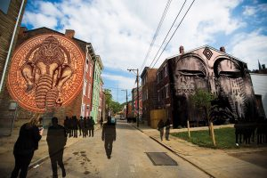 Pleasant Street from Washington Park to Findlay Market will become an outdoor art gallery for BLINK and beyond. (Actual art will be different.)