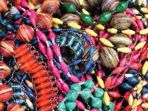 Colorful Bead for Life jewelry made from recycled paper beads