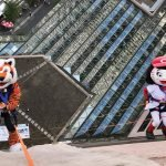 Who Dey and Rosie Red rappelling