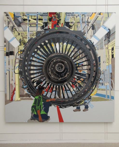 Curtis Goldstein (b. 1966) and Matt Lynch (b. 1969), GE Aviation, 2015, Formica laminate on panel, 90 x 90 inches. Courtesy of the artists.