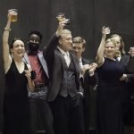 Actors toast opening night.