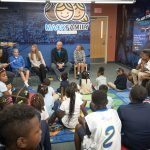 Rockdale students join Chris Mack and his family in the new reading corner
