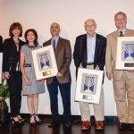 Moss inductees Barry and Patsy Kohn, Patti and Fred Heldman, Charles Stix, and Ross and Jan Evans. Not pictured: Amy and Scott Perlman, Mauri Willis.