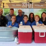 Volunteers helping at the beer tent: Ashley Cunningham, GE Credit Union; Michael Garfield, Mercy Health-Cincinnati CEO and SVP; Becky Sittason, Mercy Health Foundation; Dr. Gerry Harris, volunteer at Mercy Health – Anderson Hospital; Charlene Badenhop, Mercy Health; Diane Hammons, Mercy Health marketing; Suzy Dorward, Mercy Health Foundation; Kelli Wall and Ellen Hall, both of Mercy Health marketing
