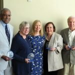 Honorees Alvin Crawford and Kathy Brinkman, Pro Seniors Executive Director Rhonda Moore and honorees Marilyn Harris and Ron Pfleghaar