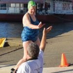 Marilyn Braun, oldest swimmer at 84, finished in 35:56.