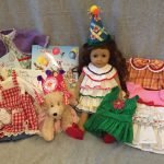 An American Girl doll dressed by Helen Weis, who has prepared dolls for the auctions since the 1980s