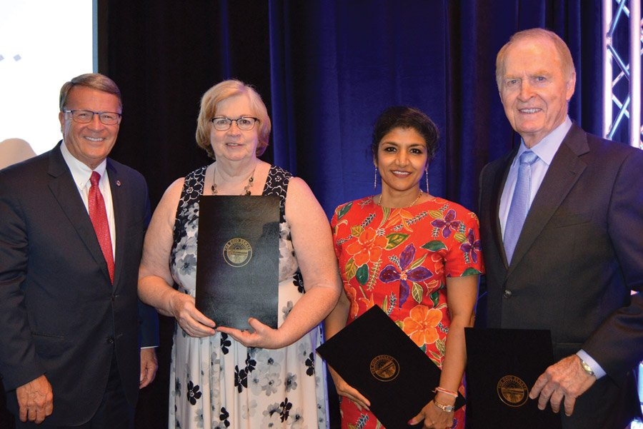 State Sen. Steve Wilson with honorees Kathy Atkinson, Dr. Lakshmi Sammarco and Tony Woods