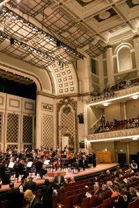 The stage of Springer Auditorium, Cincinnati Music Hall.