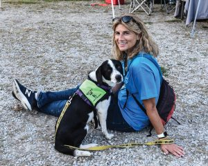 Foster mom Mary Paden with adoptable Homer