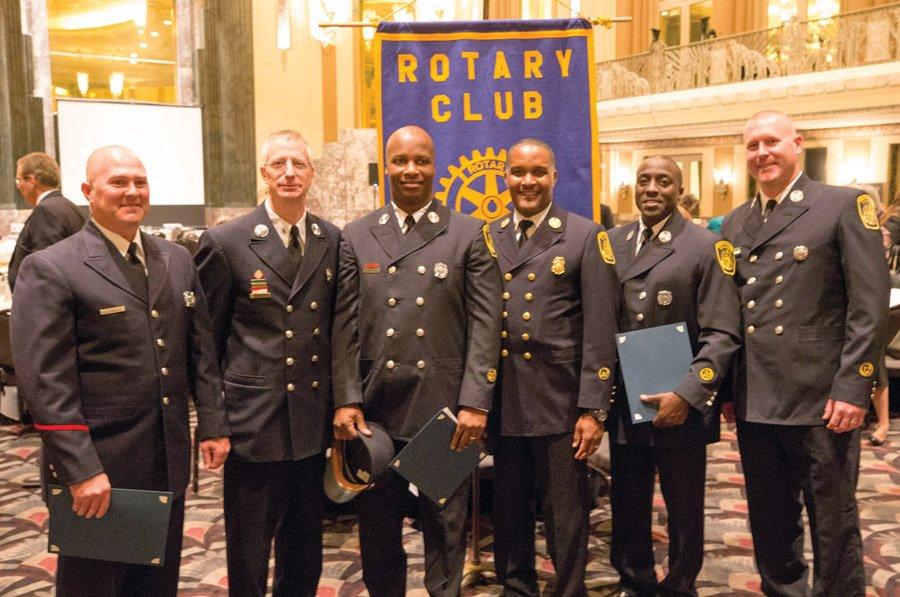 Fire Apparatus Operator Stephen Dengler, Lt. Joseph Arnold, Lt. John Davis, Chief Roy Winston, Lt. Edward Wallace and Lt. Justin Peter
