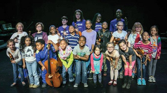 Members of the CCM/SCPA Suzuki Strings Program at the Cincinnati Symphony Club