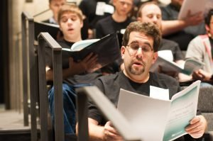Basses Trace Abram (center) and Kyle Heimbrock (back, left) at rehearsal in the Cincinnati Shakespeare Company's Otto M. Budig Theater