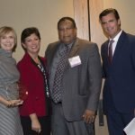 Dr. Jeanne-Marie Tapke, board chair of honoree Interact for Health, ReSource executive director Christie Brown, Interact president and CEO Dr. O'dell Owens, and emcee Phil Castellini