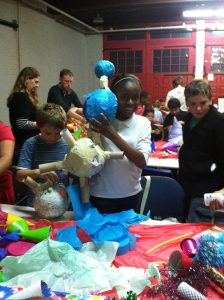 Making pinatas at Las Posadas
