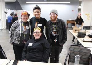 Student volunteers Mandy Clements, Amani Nichae, Kiley Mcvey and Deven Grupy