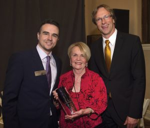 CCO board president Wes Needham, honoree Barbara Bushman, CCO music director Eckart Preu