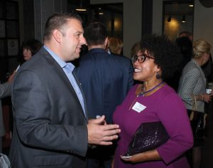 CATS board member Peter Bergman speaks with guest Carolyn Pyle