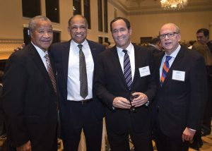 Mitch Livingston, HHC board member; President Neville Pinto, of sponsor University of Cincinnati; Bobby Fisher, HHC capital campaign chair; and Richard Friedman, HHC board member and event committee member