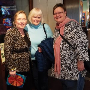 Museum YP coordinator Billie McDaniel with Joyce and Jeannette Collette