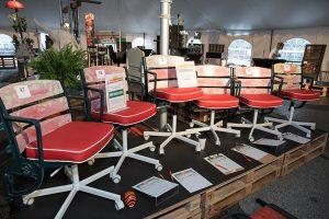 OrangeChair's 2017 winning design — made from reclaimed Cincinnati Gardens seats