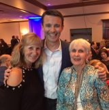 Brighton Center's development director, Becky Timberlake, with Bob Herzog of Local 12 WKRC and volunteer Barb Manyet